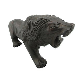 Hand-Carved Wood Roaring Lion
