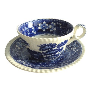 Vintage Blue Willow Teacup & Saucer