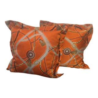 Hermes Style Equestrian Pillows - a Pair