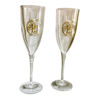 Vintage Crystal Perrier Jouet Champagne Flutes - a Pair