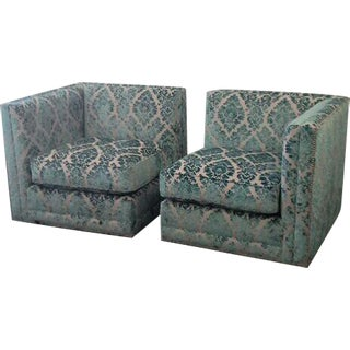 Imported Damask Velvet Modular Chairs - A Pair