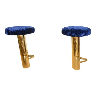 Set of Four Rare Heavy Polished Brass Tilted Bar Stools, attrib. to Karl Springer