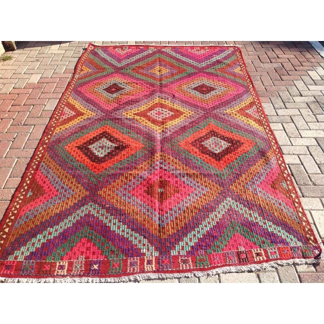 Vintage Turkish Kilim Rug - 5′11″ × 9′8″ - Image 2 of 8