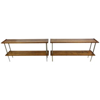 Wood and Steel Consoles From France - a Pair