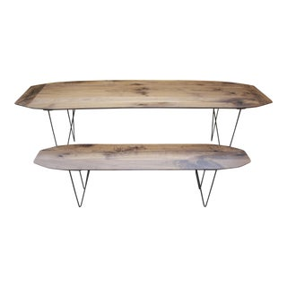 The Surf Solid Walnut With Geometric Steel Base Dining Table + Bench Set
