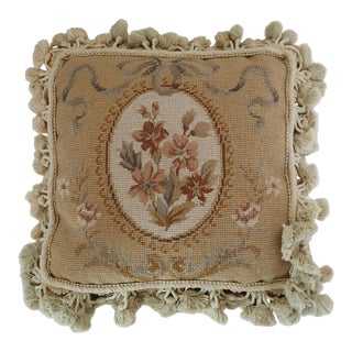 French Style Petit Point Floral Pillow