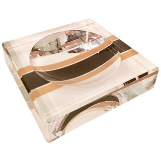 Modern Lucite Printed Racing Stripe Square Bowl by AVF