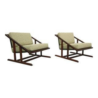 Mid-Century Angular Walnut Sling Chairs - Pair