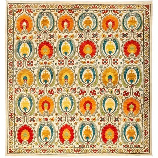 """Suzani, Hand Knotted Area Rug - 8' 3"""" X 8' 7"""""""