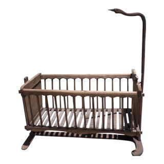 French Wooden Baby Cradle