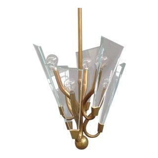 Fontana Arte Style Brass Chandelier