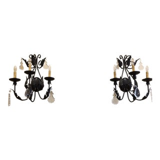 Bronze Leaf Wall Sconces - A Pair