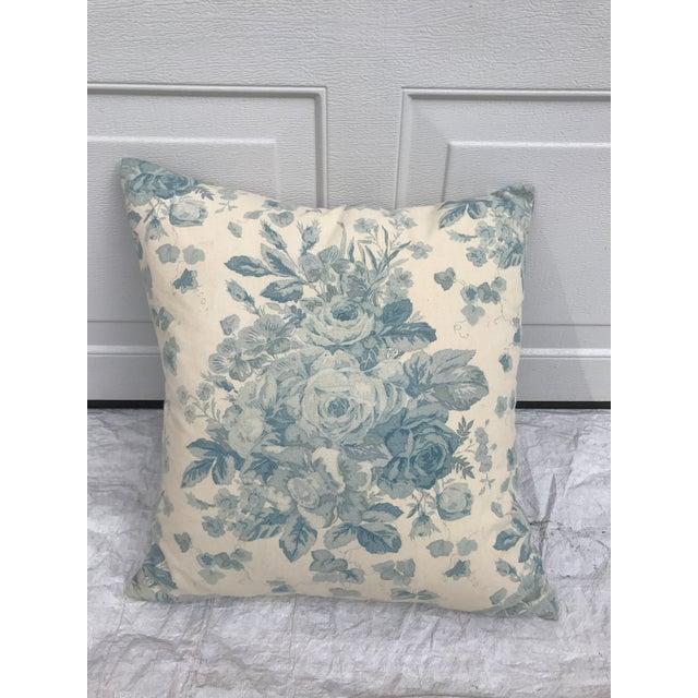 Ralph Lauren Blue & White Rose Patterned Pillow - Image 2 of 8
