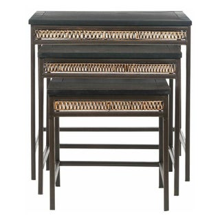 Stacking Tables with Metal Frame and Wicker Apron