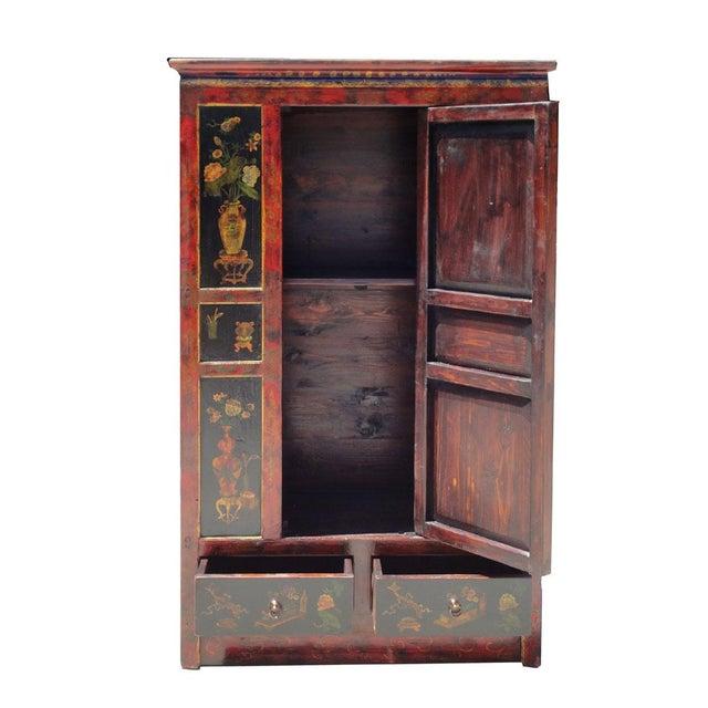 Tibetan Red Black Flower Graphic Storage Cabinet - Image 5 of 6