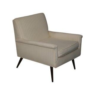 Mid-Century Modern Ivory Stripe Lounge Chair