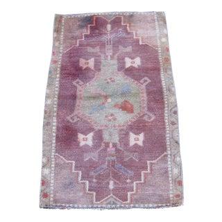 Vintage Turkish Maroon Wool Pile Rug - 1′9″ × 2′11″
