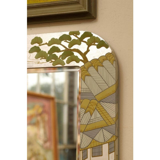 Image of Regency Painted Silver Chinoiserie Mirror