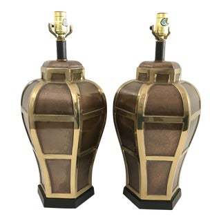 Mixed Metal Ginger Jar-Style Lamps - A Pair