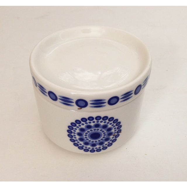 Image of Mid-Century Blue & White Sugar Bowl