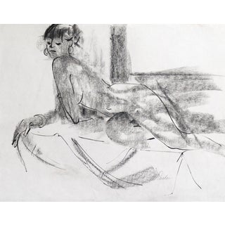 """Vintage 1975 """"Reclining Nude"""" Drawing"""