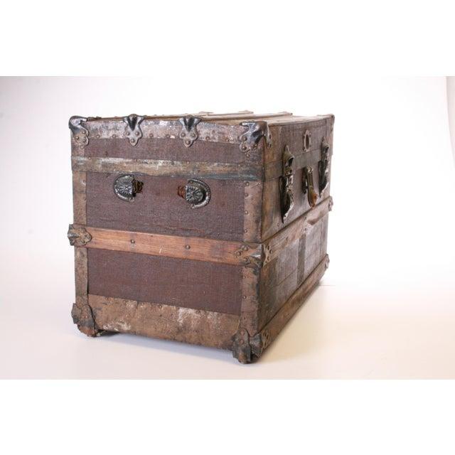Victorian Wood & Metal Flat Top Brown Steamer Trunk - Image 5 of 11