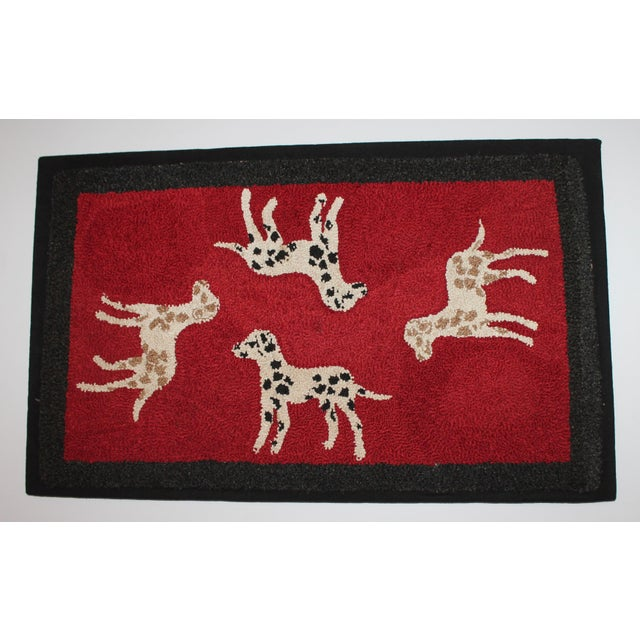 Image of 1920s Hand Hooked and Mounted Pictoral Dogs Rug