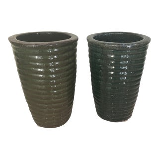 Green Pottery Vases - A Pair