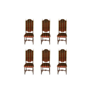 Vintage Spanish Revival Style Wooden Upholstered Chairs - Set of 6