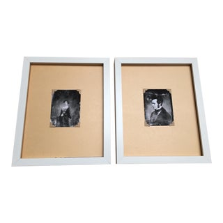 Man and Lady, 1800's Daguerrotype Prints - Pair