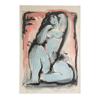 Blue Nude Limited Edition Screen Print by Dutch Artist Nic Jonk - 1983