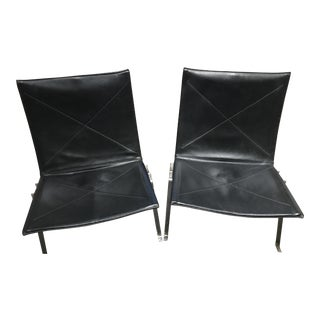 PK22 Black Leather Chairs - A Pair