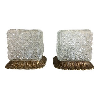 Glass Block Ceiling Lights - A Pair