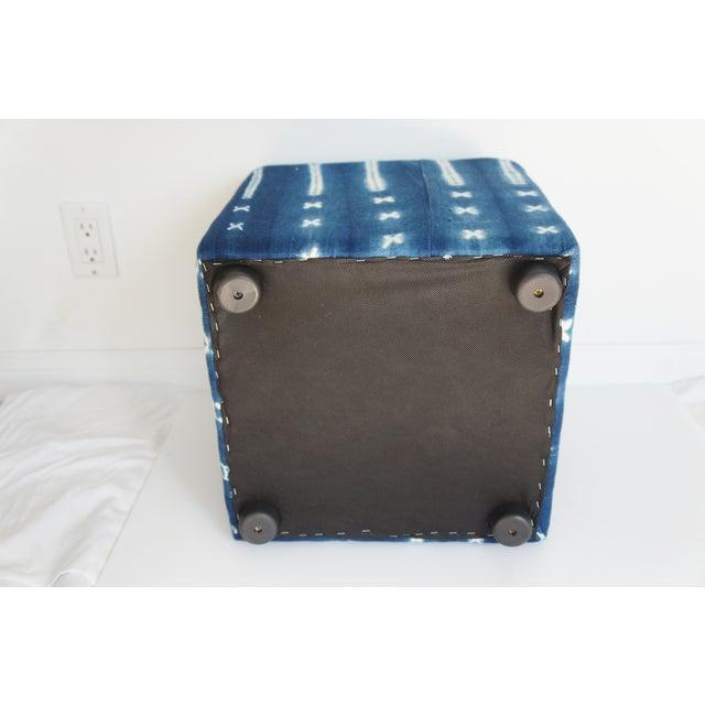 Image of Vintage African Indigo Mudcloth Cube Ottoman