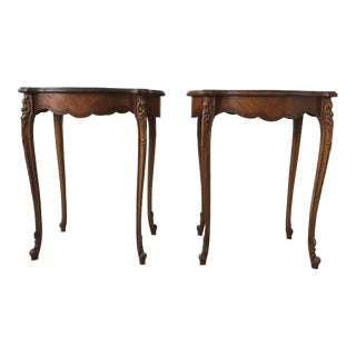 Louis XV Marquetry Inlaid Tables - a Pair