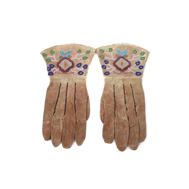 Native American Antique Leather & Beads Gloves - Image 3 of 7