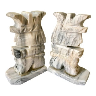 Grey & White Natural Stone Aztec Bookends - A Pair