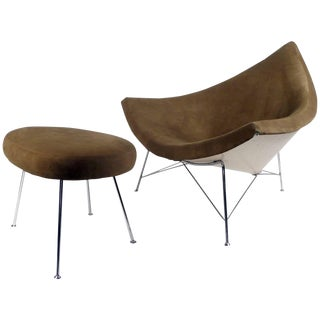 Early Coconut Chair and Ottoman by George Nelson 1955