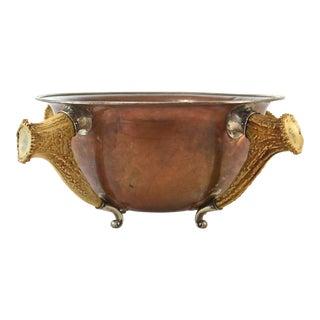 Antique Sterling, Copper & Horn Trophy Bowl