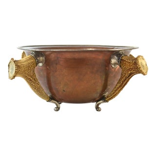 Antique Sterling, Copper & Horn Trophy Bowl