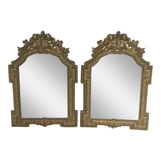 Brass Repousse Mirrors With Cherubs - A Pair