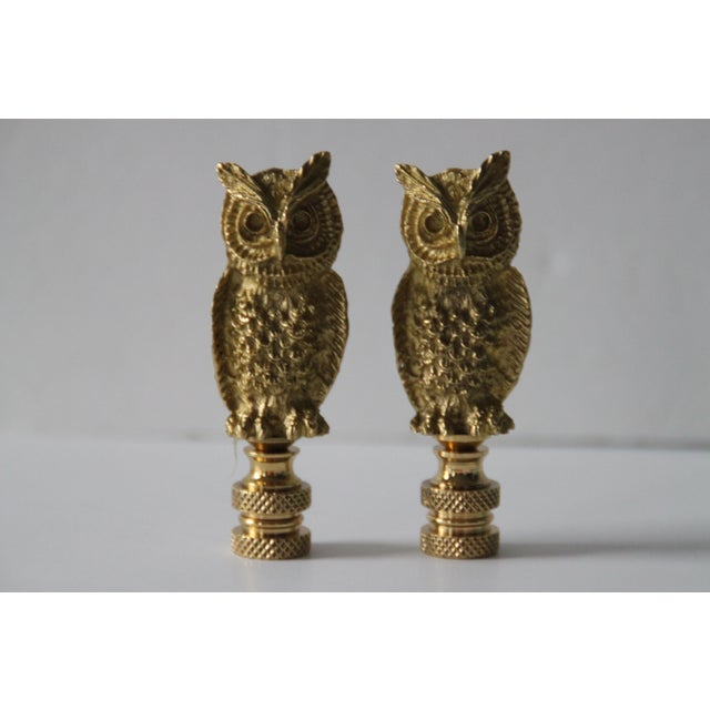 Brass Owl Lamp Finials - A Pair - Image 3 of 3