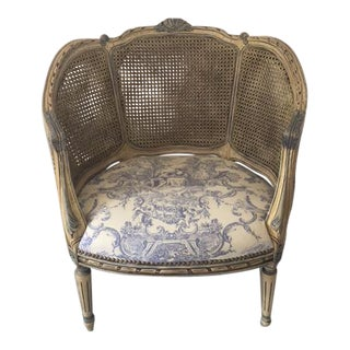 Antique French Double Cane Bergere Chair