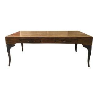 Solid Wood & Metal Frame Coffee Table