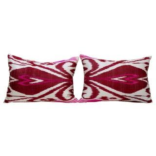 Pink & Burgundy Silk Ikat Pillows - Pair