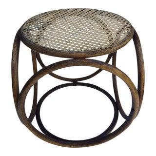 Thonet Style Mid-Century Bent Wood & Cane Stool