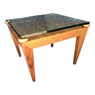 Geometric Gold Spacers, Thick Glass Top, & Molded Plywood Table