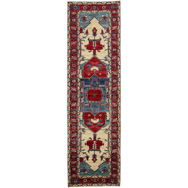"New Traditional Hand-Knotted Runner - 2' 10""x9' 8"" - Image 1 of 3"
