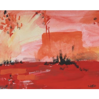 """Singing Desert"" Abstract Orange Painting by Cleo"