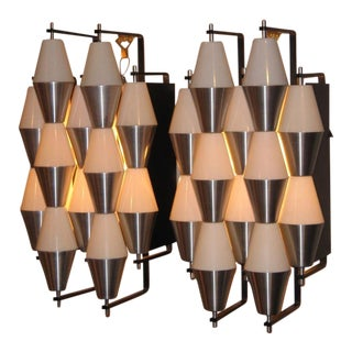 Two Pairs of Modernist Wall Sconces by Raak, Netherlands circa 1955